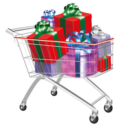 shopping trolley:  christmas shopping cart Illustration