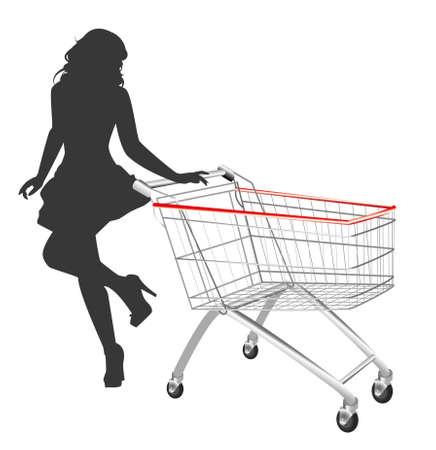 mujer en el supermercado: silueta de mujer con carrito de compras