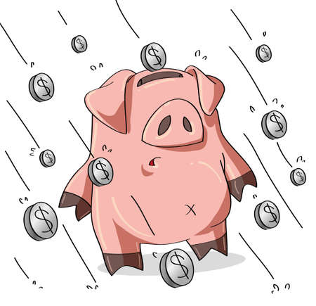 Pig affected by economic crisis Vector