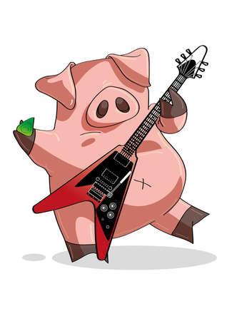 caricaturas de animales: Rock and roll playing cerdo un solo de guitarra