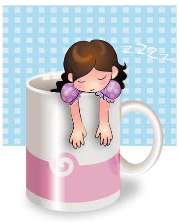 Girl sleeping in a breakfast mug Vector