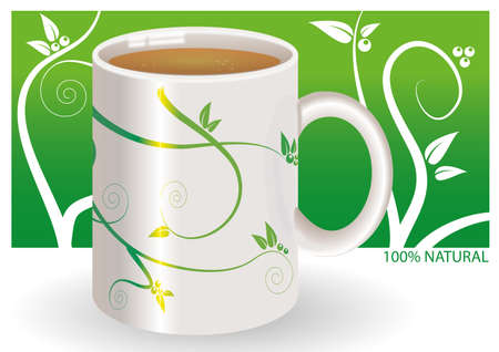 100% natural herbal tea Vector
