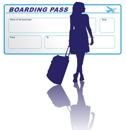 baggage: Reisen Frau mit Bordkarte Illustration