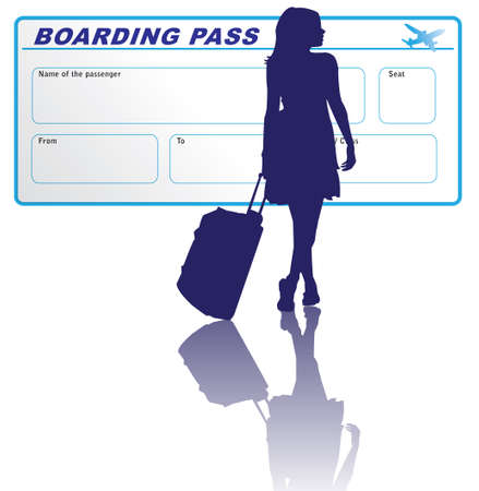 airline: Travelling woman with boarding pass Illustration