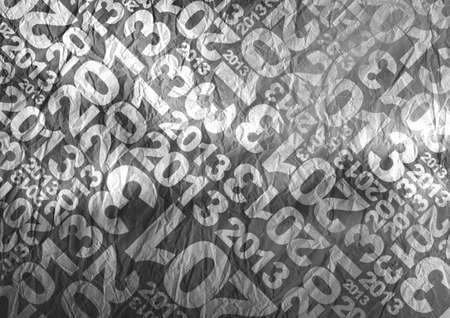 2013 themed typographic texture BW