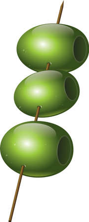 Sticked olives for appetizer