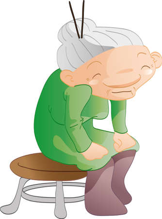 granny: Cartoon old woman sitting on a chair