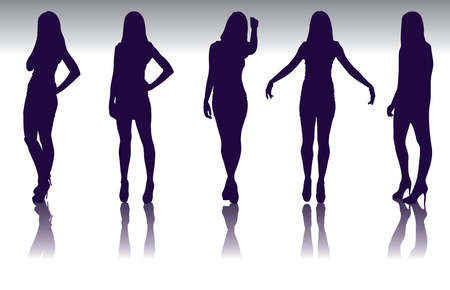 Set of  fashion model silhouette Vector