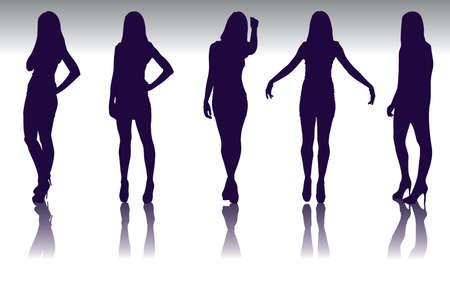 Set of  fashion model silhouette