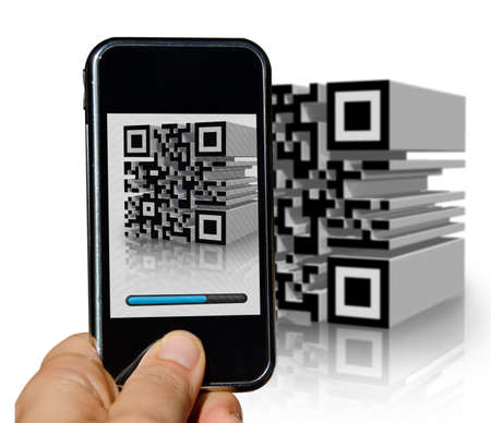 Mobile phone scanning a tridimensional barcode with a loading bad Stock Photo