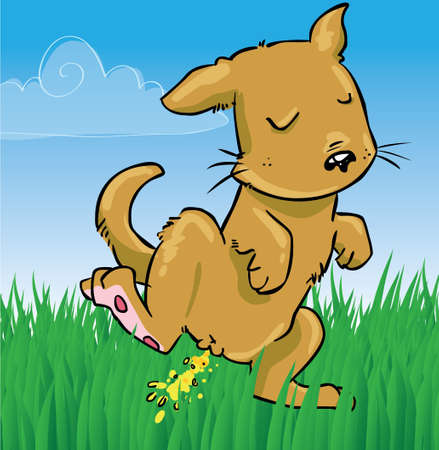 pee: Little dog peeing on grass illustration