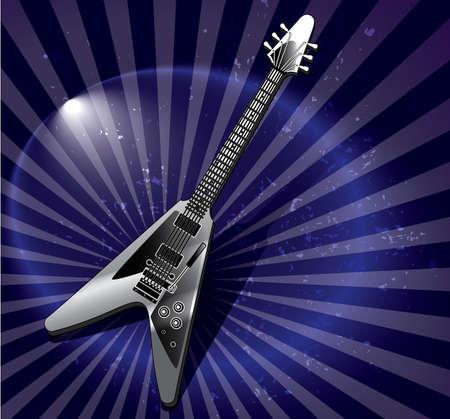 Vector Flying v style electric guitar Illustration