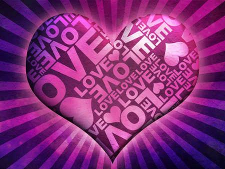 heart masked Love typographic texture Stock Photo
