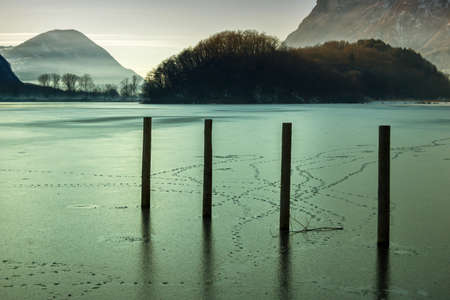 Frosted lake in north Italy - Lake plan Stock Photo