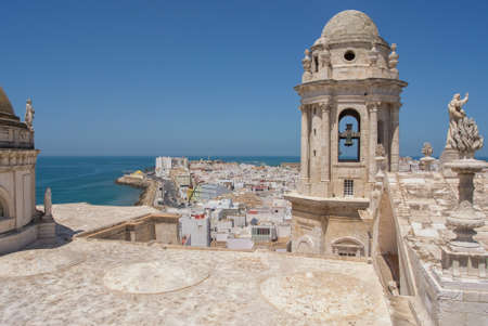 View of the old city from the top of the Cathedral Tower, Cadiz, Spain Stock Photo