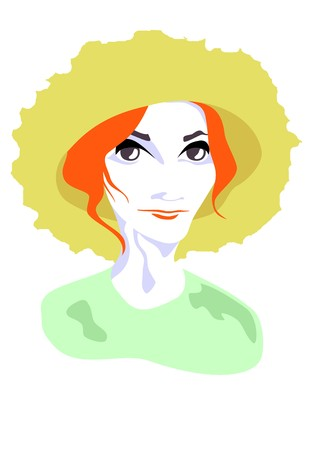 Redhead girl in hat.