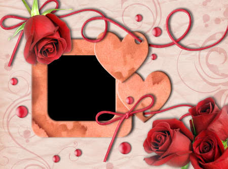 Vintage photo frame, red roses and heart on an old, cracked background.  Valentines Day photo