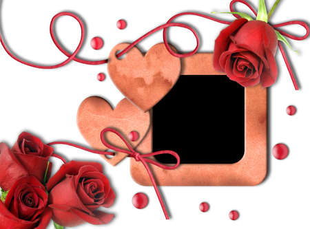 wedding photo frame: Vintage photo frame, red roses and heart on white background.  Valentines Day     Stock Photo