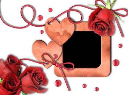 wedding photo frame: Vintage photo frame, rose rosse e cuore su sfondo bianco. San Valentino