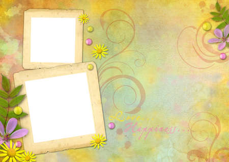 photo frames on the abstract pastel-colored paper background with the flowers and pearls photo