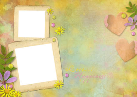 photo frames on the abstract pastel-colored paper background with the flowers and heart photo