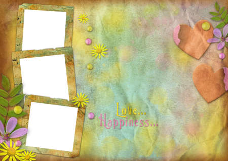 vintage photo frames on the abstract varicolored paper background with the flowers and hearts photo
