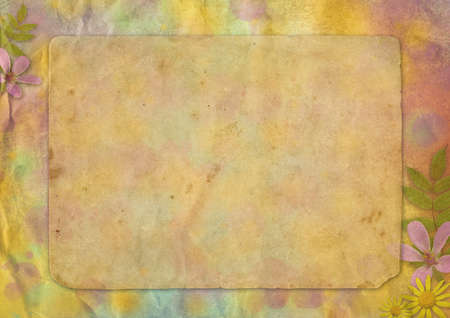 abstract pastel-colored paper background with the flowers for the design photo