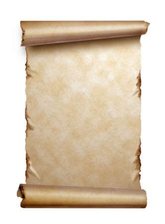 Blader van oud papier met gekrulde randen op wit wordt geïsoleerd Stockfoto