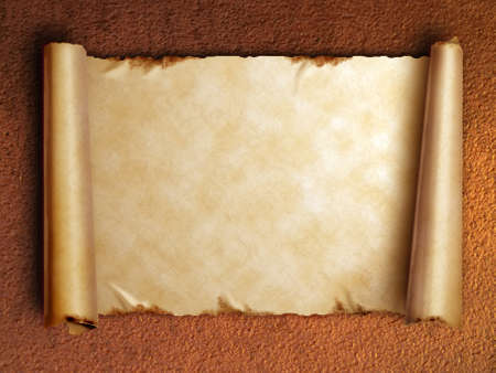 curled edges: Scroll of old paper with curled edges against the rusty wall       Stock Photo
