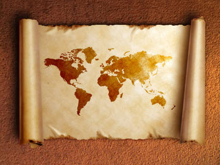 ancient scroll map with curled edges, on the old rusty background