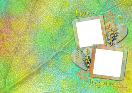 vintage photo frames on the abstract  background with hearts photo