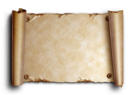 Scroll of old paper with rounded edges and nails on a white background with shadow
