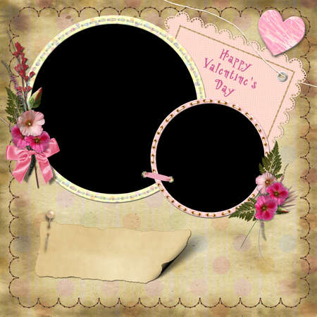 Happy Valentines Day - Vintage Photo Album. The frames with a bouquet of flowers hollyhocks and heart photo