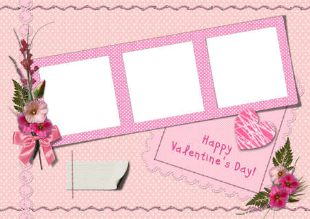 Happy Valentines Day - Retro Photo Album. The frames with a bouquet of flowers hollyhocks and heart photo