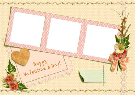 hollyhocks: Happy Valentines Day - Retro Photo Album. The frames with a bouquet of flowers hollyhocks and heart Stock Photo