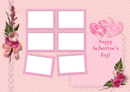 hollyhocks: Happy Valentines Day - Retro Photo Album. The frames with a bouquet of flowers hollyhocks and hearts