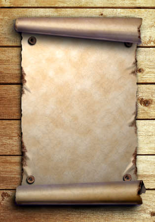 Scroll of old paper is attached with nails on wooden boards Stock Photo - 11932801