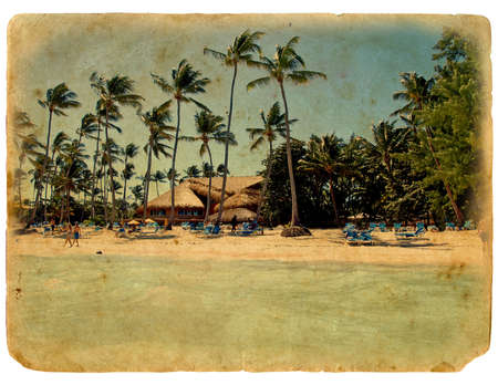 vintage postcard: rest on the beach, lounge chairs, palm trees, the bungalows. The postcard, in a stylized grunge and retro style. Isolated on white background