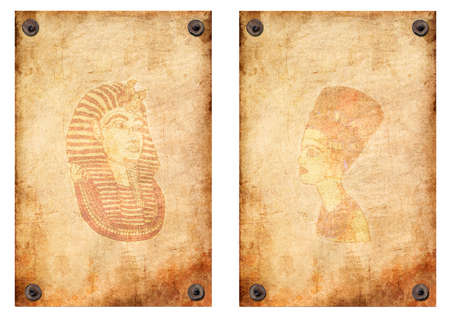 queen Nefertiti, Pharaoh. Old grunge antique paper texture pattern attached with nails on a white background photo