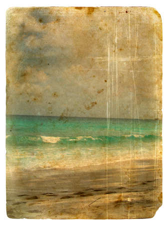 Indian Ocean, Seychelles. Old postcard, design in grunge and retro style photo