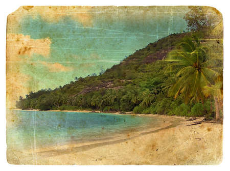 Indian Ocean landscape, Seychelles. Old postcard. Isolated on white background photo