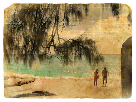 Family on holiday, Seychelles. Old postcard. Isolated on white background photo