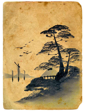 Japanese painting.  Old postcard, design in grunge and retro style photo