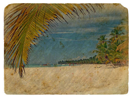 tropical Landscape. Old postcard, design in grunge and retro style photo