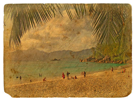 Tropical landscape, Seychelles. Old postcard, design in grunge and retro style photo