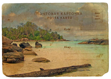 Indian Ocean landscape, Seychelles. Old postcard. Isolated on white background
