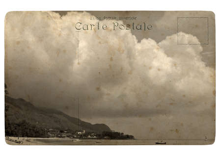 Tropical landscape, Seychelles. Old postcard. Isolated on white background photo