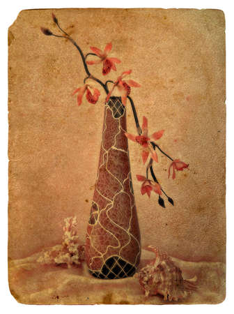 Still Life with Orchid. Old postcard, design in grunge and retro style photo