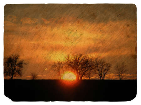 Sunset. Old postcard, design in grunge and retro style photo