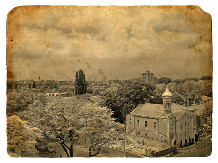 Urban landscape. Old postcard, design in grunge and retro style photo